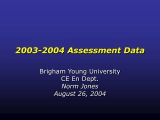 2003-2004 Assessment Data