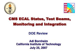 CMS ECAL Status, Test Beams, Monitoring and Integration