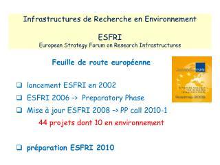 Feuille de route européenne    lancement ESFRI en 2002   ESFRI 2006 ->   Preparatory  Phase