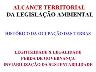 ALCANCE TERRITORIAL  DA LEGISLAÇÃO AMBIENTAL
