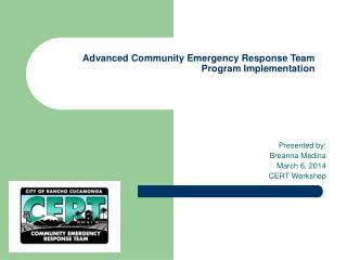 Advanced Community Emergency Response Team   Program Implementation