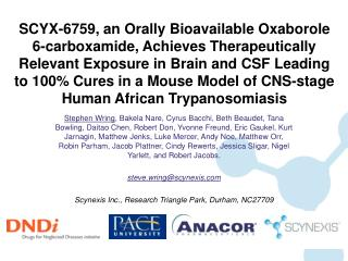 SCYX-6759, an Orally Bioavailable Oxaborole 6-carboxamide, Achieves Therapeutically Relevant Exposure in Brain and CSF L