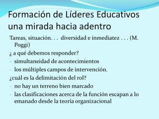Formación de Líderes Educativos una mirada hacia adentro