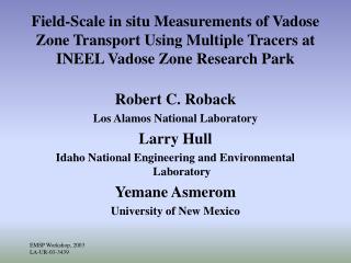 Robert C. Roback Los Alamos National Laboratory Larry Hull