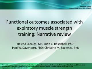 Functional outcomes associated with expiratory muscle strength training: Narrative review