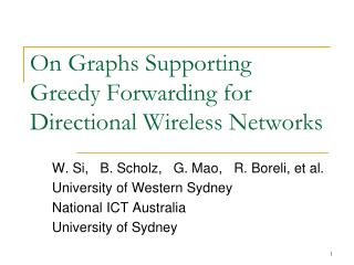 On Graphs Supporting  Greedy Forwarding for Directional Wireless Networks