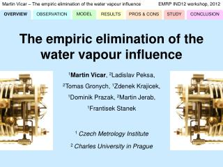 Martin Vicar ‒ The empiric elimination of the water vapour influence	EMRP IND12 workshop, 2012