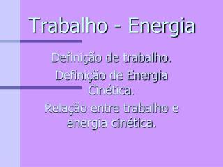 Trabalho - Energia