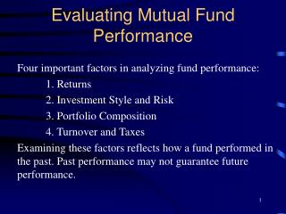 Evaluating Mutual Fund Performance