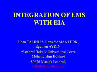 INTEGRATION OF EMS WITH EIA