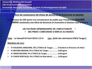 Avis de soutenance de thèse de doctorat en Economie et Gestion