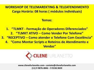 WORKSHOP DE TELEMAREKTING & TELEATENDIMENTO  Carga Horária: 08 horas ( módulos individuais)