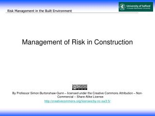 Management of Risk in Construction