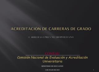 ACREDITACI�N DE CARRERAS DE  GRADO CARRERAS CPRES METROPOLITANO