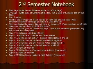 2 nd  Semester Notebook