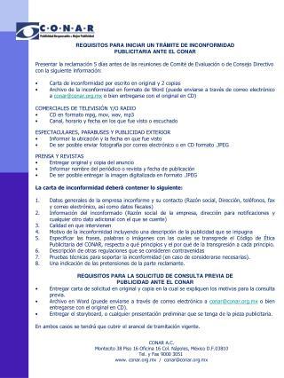 REQUISITOS PARA INICIAR UN TRÁMITE DE INCONFORMIDAD  PUBLICITARIA ANTE EL CONAR