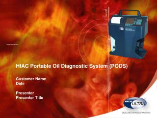HIAC Portable Oil Diagnostic System (PODS) Customer Name Date Presenter Presenter Title