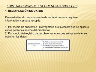 """"""" DISTRIBUCION DE FRECUENCIAS SIMPLES """""""