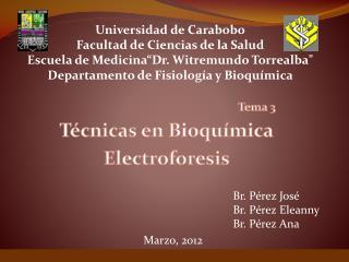 Tema 3 T�cnicas en Bioqu�mica Electroforesis
