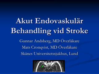 Akut  Endovaskulär  Behandling vid Stroke