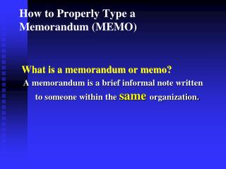 How to Properly Type a Memorandum (MEMO)