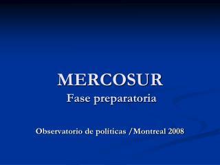 MERCOSUR Fase  preparatoria