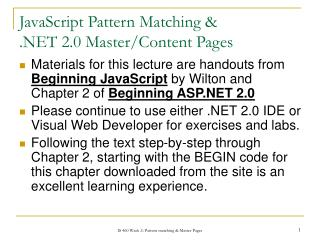 JavaScript Pattern Matching & .NET 2.0 Master/Content Pages