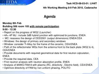 Task HCD-08-03-01: LH4IT 4th Working Meeting 8-9 Feb 2010, Cadarache Agenda Monday 8th Feb