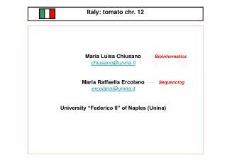 Italy: tomato chr. 12 Country Representative: Dr. Giovanni Giuliano