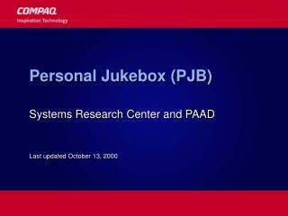 Personal Jukebox PJB