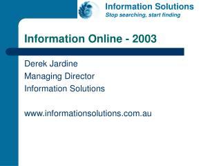 Information Online - 2003
