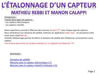 L'étalonnage d'un capteur Mathieu  rebbi  et  manon calappi