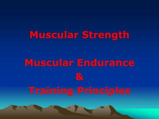 Muscular Strength Muscular Endurance & Training Principles