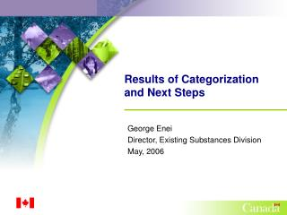 Results of Categorization and Next Steps