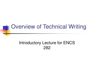 Overview of Technical Writing