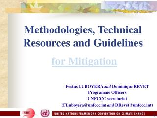 Methodologies, Technical Resources and Guidelines for Mitigation