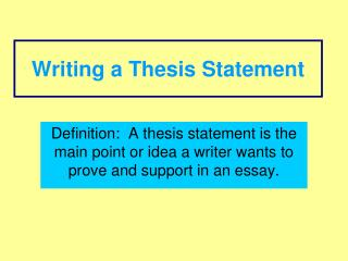 main purpose of thesis statement Confusion arises, however, over the difference between a purpose statement and a thesis what is the function of a purpose statement it focuses on one main idea.