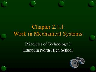 Chapter 2.1.1 Work in Mechanical Systems