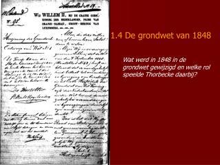 1.4 De grondwet van 1848