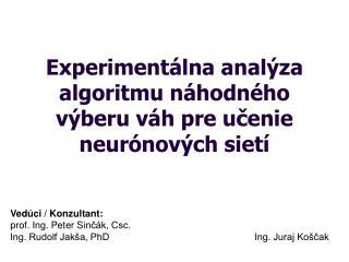 Experimentálna analýza algoritmu  n áhodného výberu váh pre uč e nie neurónových sietí