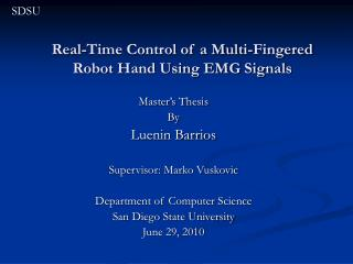 Real-Time Control of a Multi-Fingered Robot Hand Using EMG Signals
