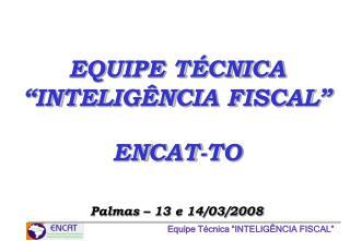 """EQUIPE TÉCNICA """"INTELIGÊNCIA FISCAL"""" ENCAT-TO Palmas – 13 e 14/03/2008"""