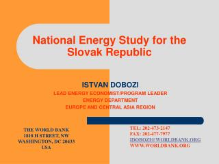 National Energy Study for the Slovak Republic