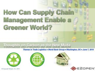 How Can Supply Chain Management Enable a Greener World?