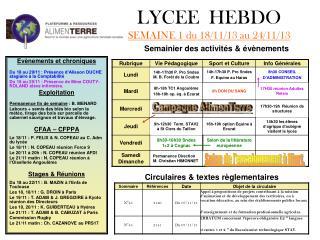 LYCEE  HEBDO SEMAINE 1 du 18/11/13 au 24/11/13