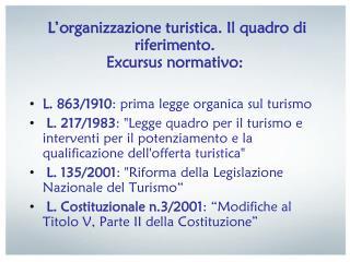 L'organizzazione turistica. Il quadro di riferimento.  Excursus normativo: