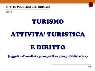 DIRITTO PUBBLICO DEL TURISMO parte I