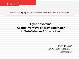 Jornadas sobre Agua y Servicios urbanos en Africa - Barcelone, 20 November 2008