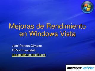Mejoras de  Rendimiento  en Windows Vista