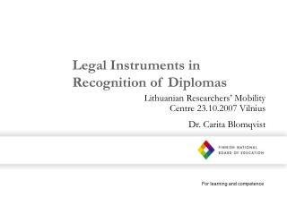 Legal Instruments in Recognition of Diplomas